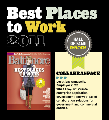 "CollabraSpace Earns Spot In Baltimore Magazine's Employers ""Hall of Fame"""