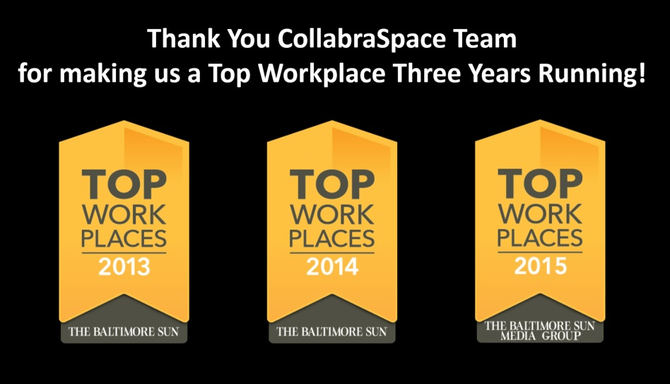 THE BALTIMORE SUN MEDIA GROUP NAMES COLLABRASPACE A WINNER OF THE BALTIMORE METRO AREA 2015 TOP WORKPLACES AWARD- THREE YEARS RUNNING